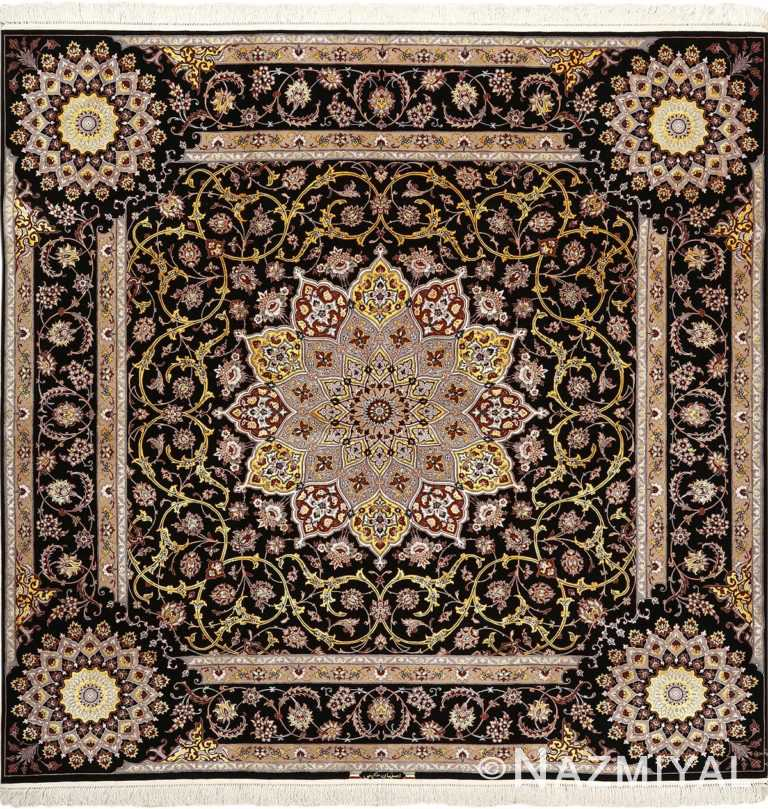 square vintage dark background isfahan persian rug 51103 Nazmiyal