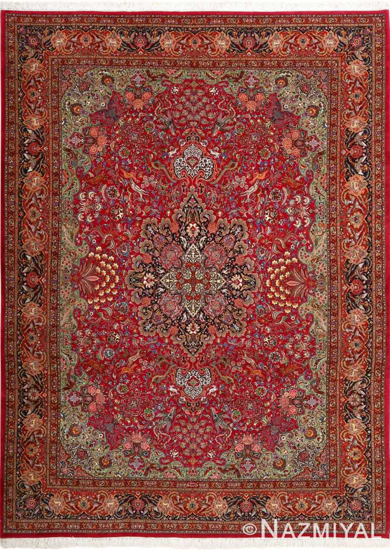 vintage animal motif tabriz persian rug 51087 Nazmiyal