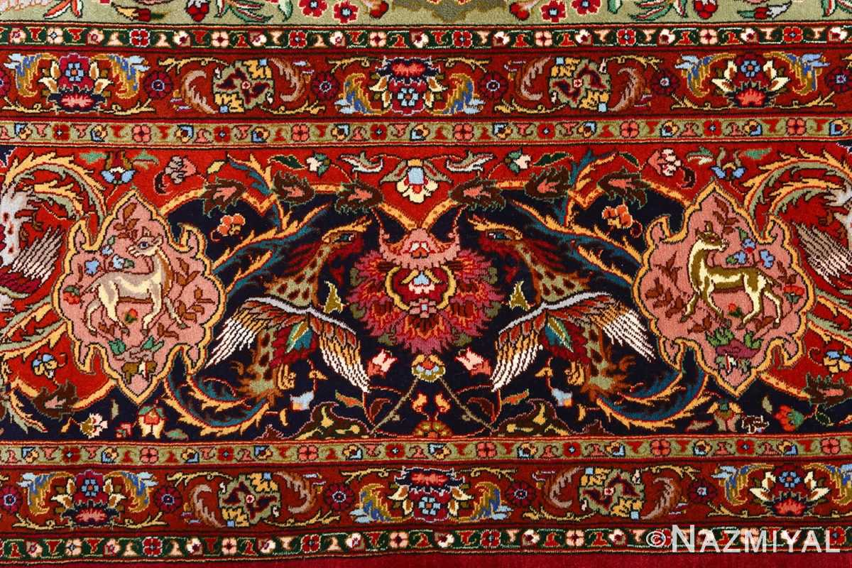 vintage animal motif tabriz persian rug 51087 border Nazmiyal