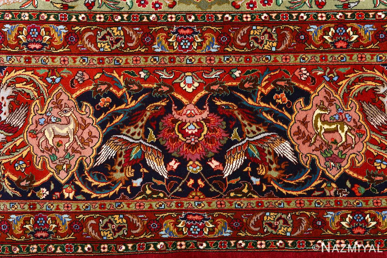 vintage animal motif tabriz persian rug 51087 border Nazmiyal