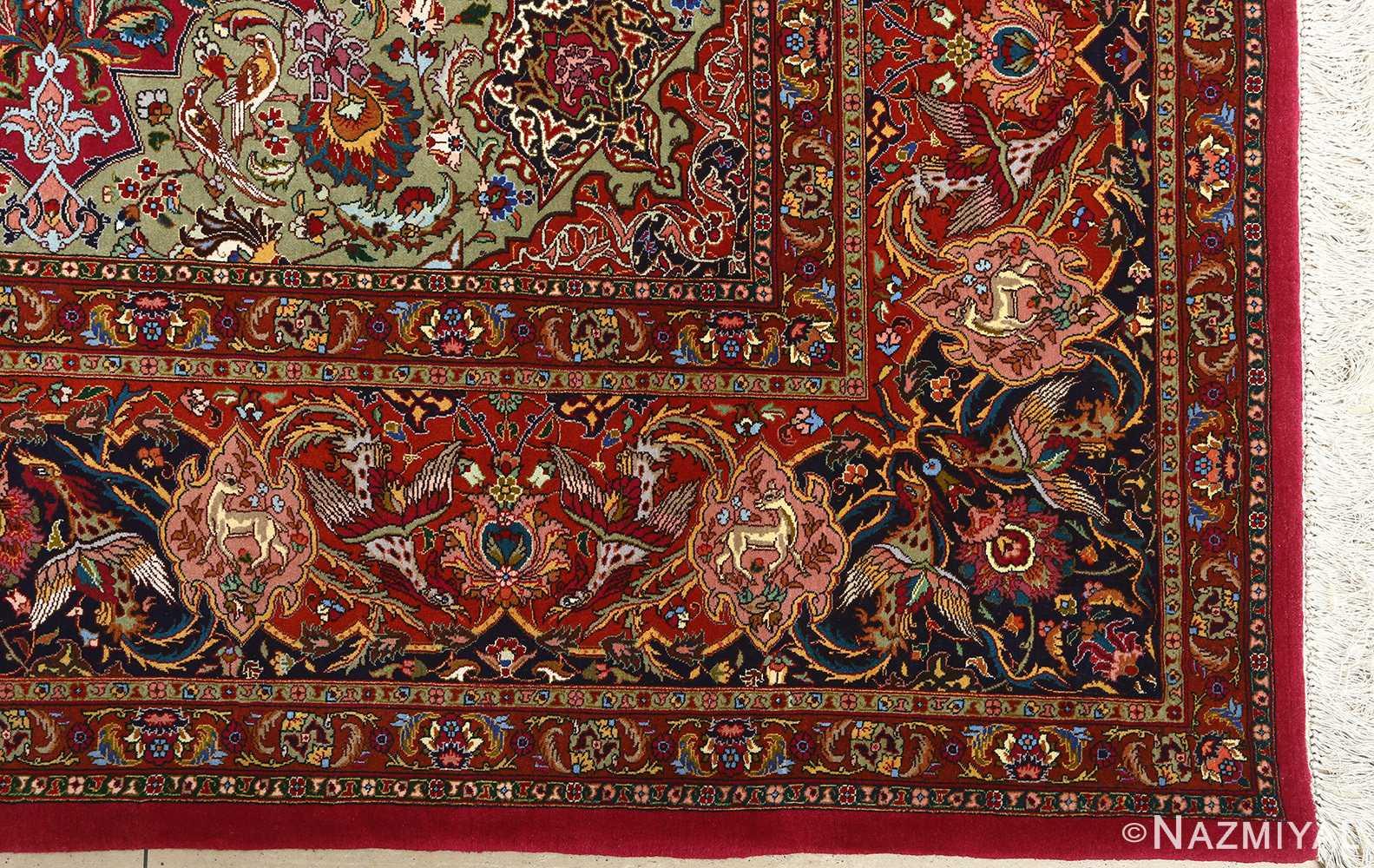 vintage animal motif tabriz persian rug 51087 corner Nazmiyal