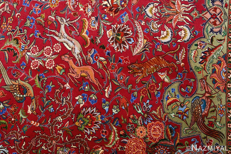 vintage animal motif tabriz persian rug 51087 deers Nazmiyal