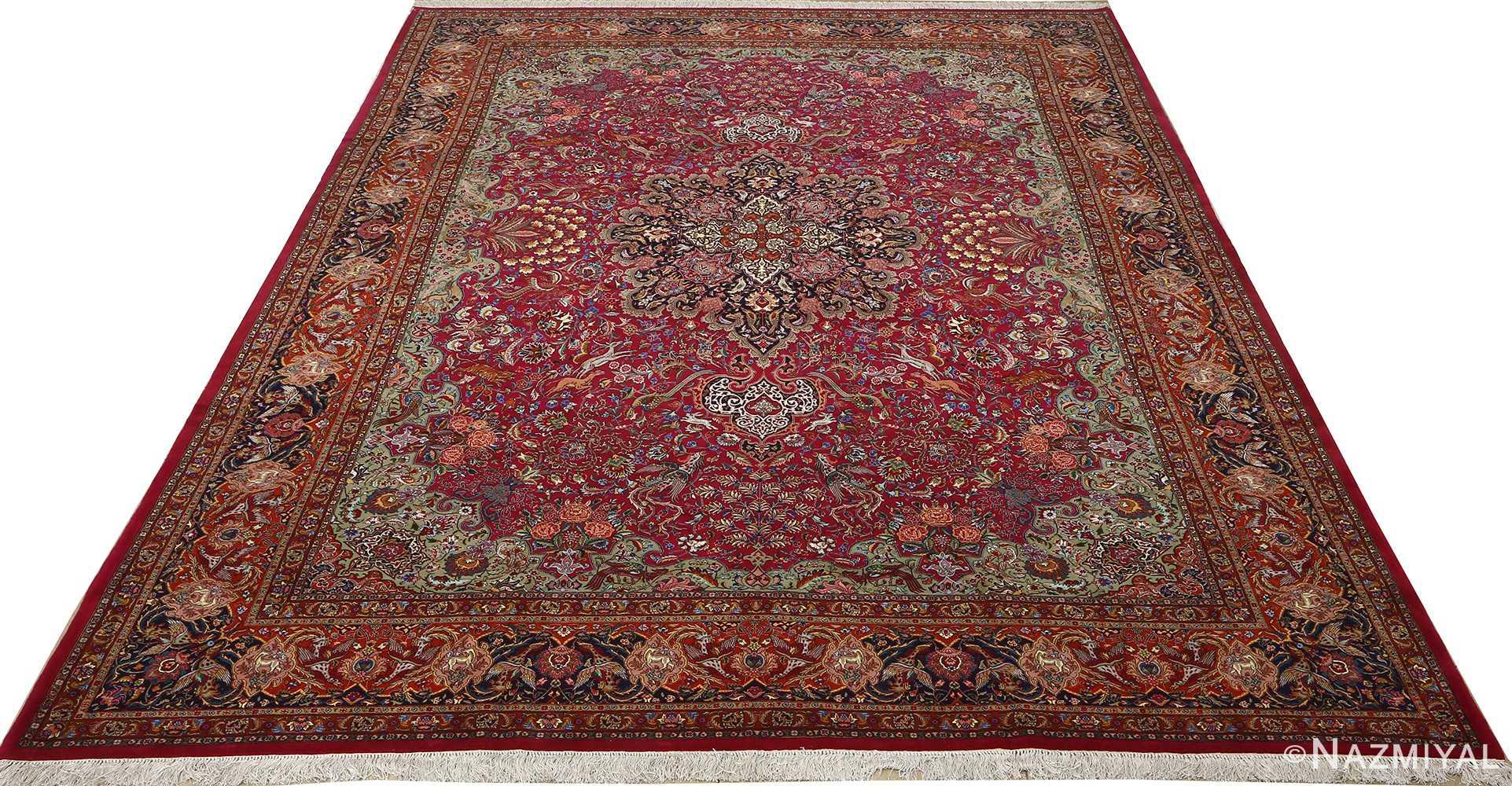vintage animal motif tabriz persian rug 51087 full Nazmiyal