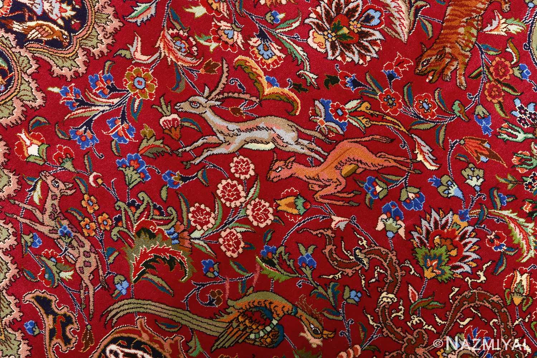 vintage animal motif tabriz persian rug 51087 gazals Nazmiyal
