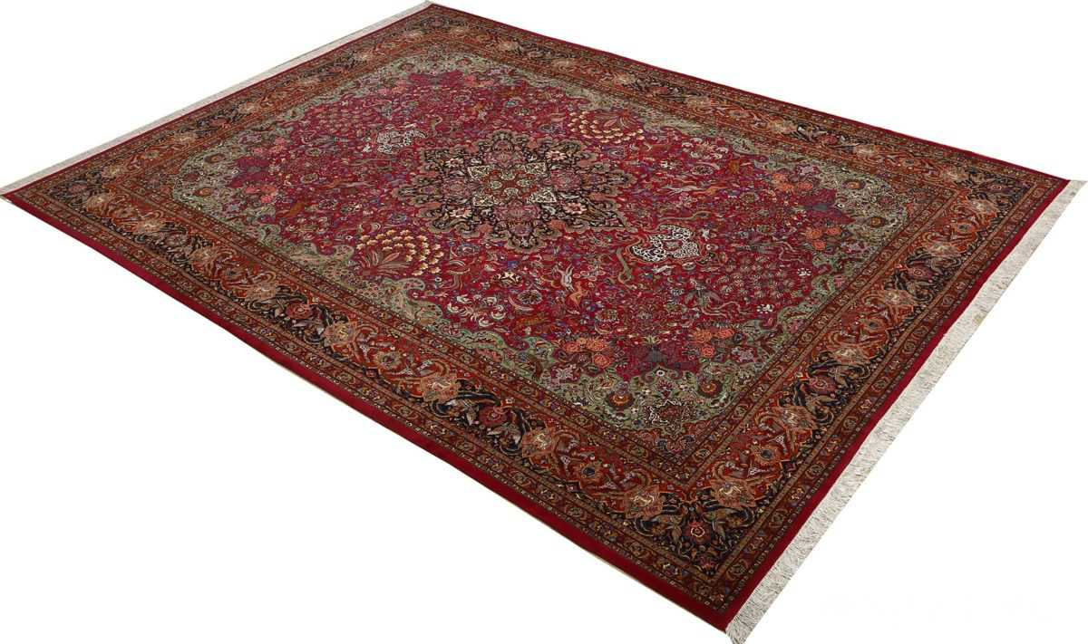 vintage animal motif tabriz persian rug 51087 side Nazmiyal
