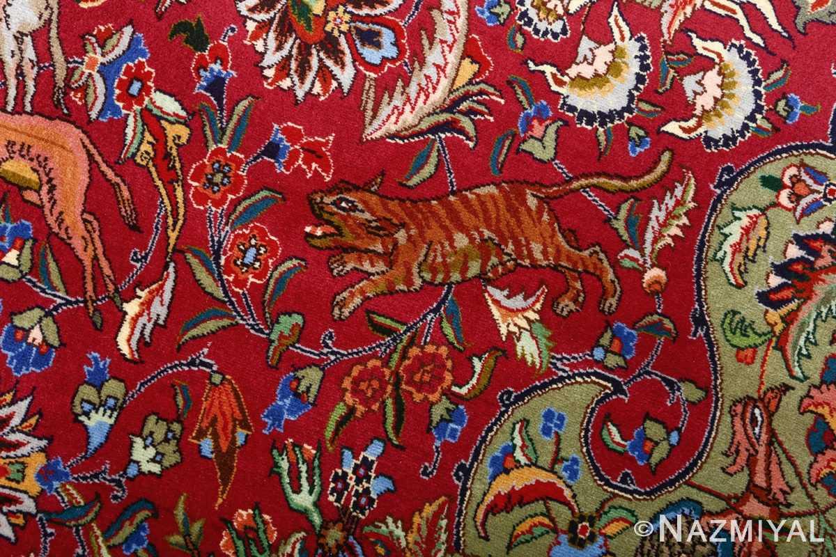 vintage animal motif tabriz persian rug 51087 tiger Nazmiyal
