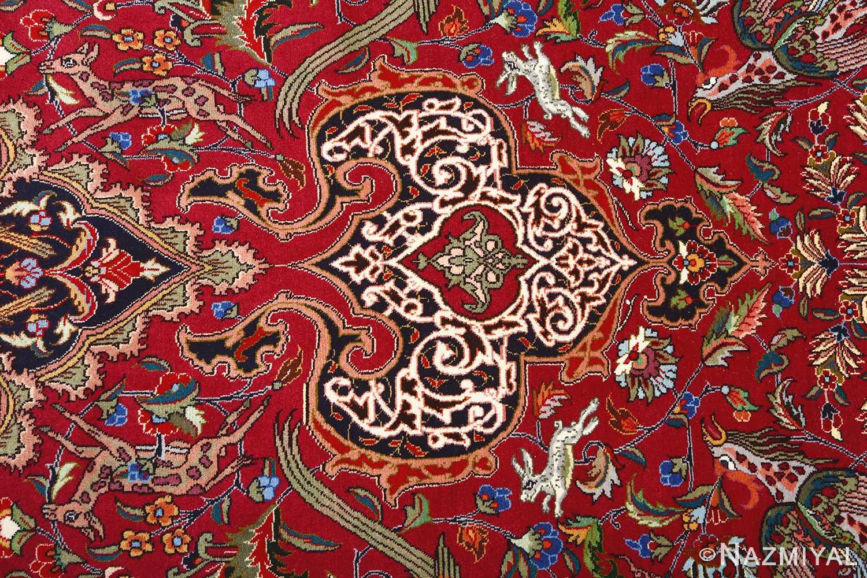 vintage animal motif tabriz persian rug 51087 top Nazmiyal