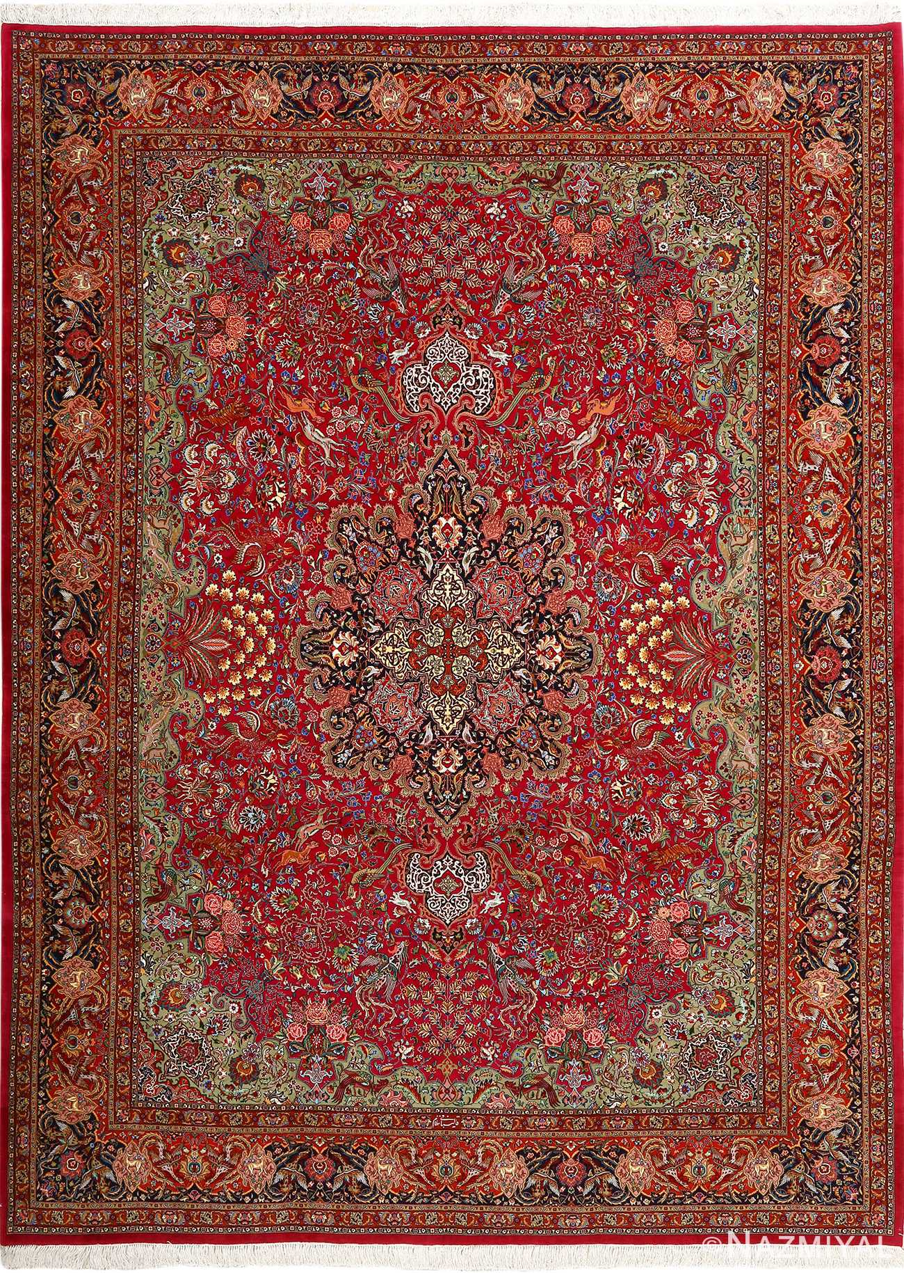 vintage animal motif tabriz persian rug 51087 Nazmiyal