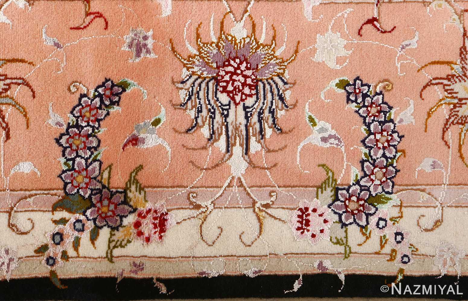 vintage animal motif tabriz persian rug 51102 bouquet Nazmiyal
