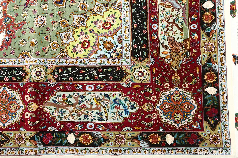 vintage animal motif tabriz persian rug 51107 corner Nazmiyal