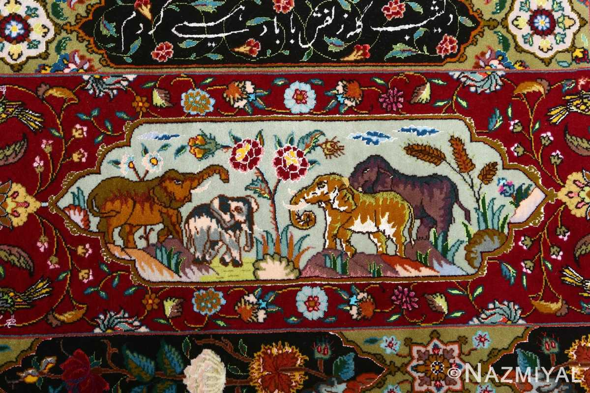 vintage animal motif tabriz persian rug 51107 elephants Nazmiyal