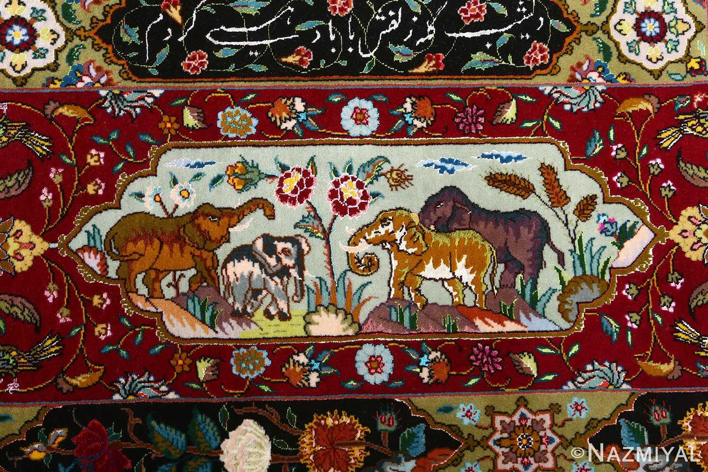vintage animal motif tabriz persian rug 51107 elephants Nazmiyal