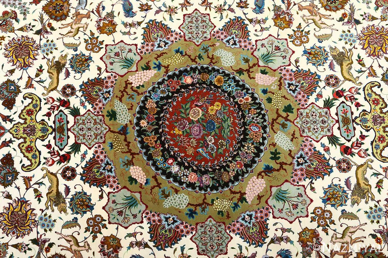 vintage animal motif tabriz persian rug 51107 field Nazmiyal