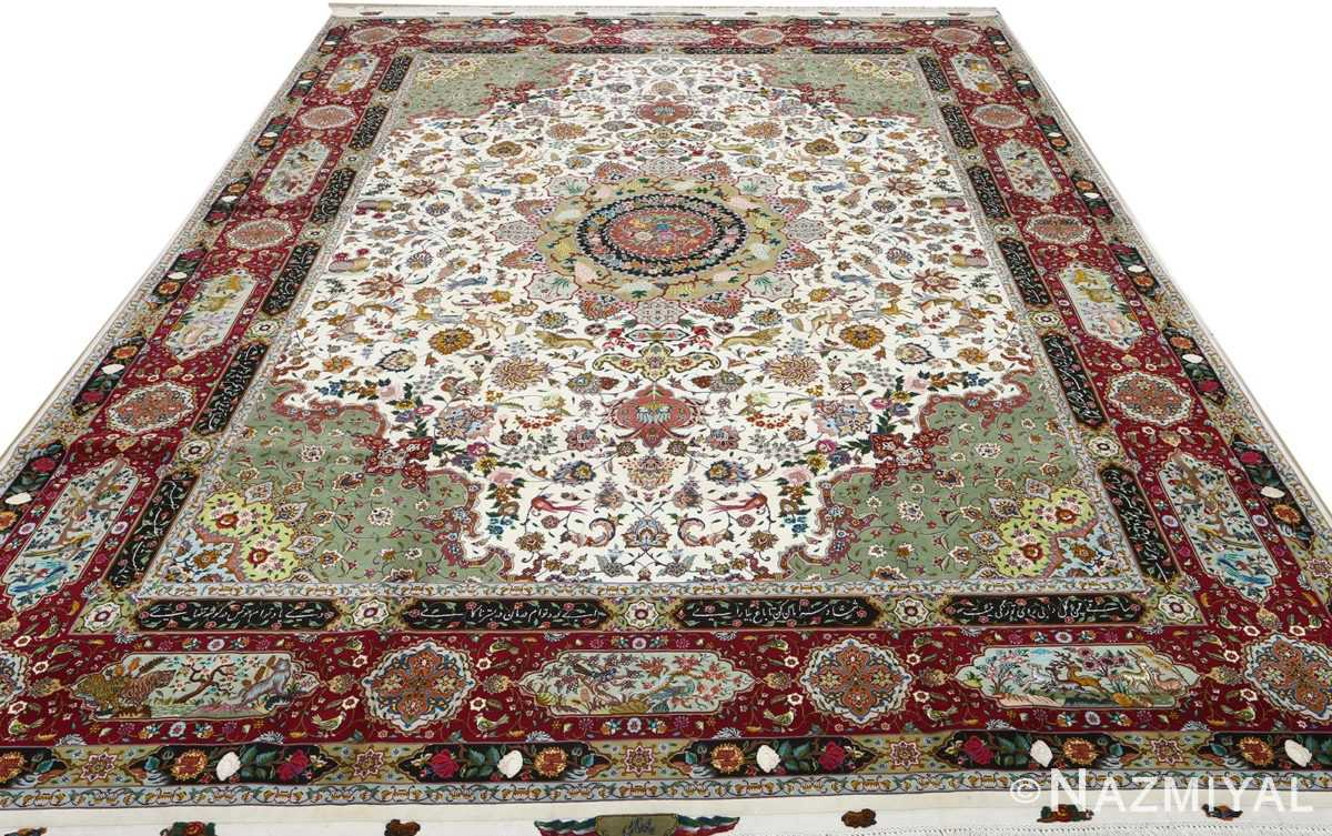 vintage animal motif tabriz persian rug 51107 full Nazmiyal
