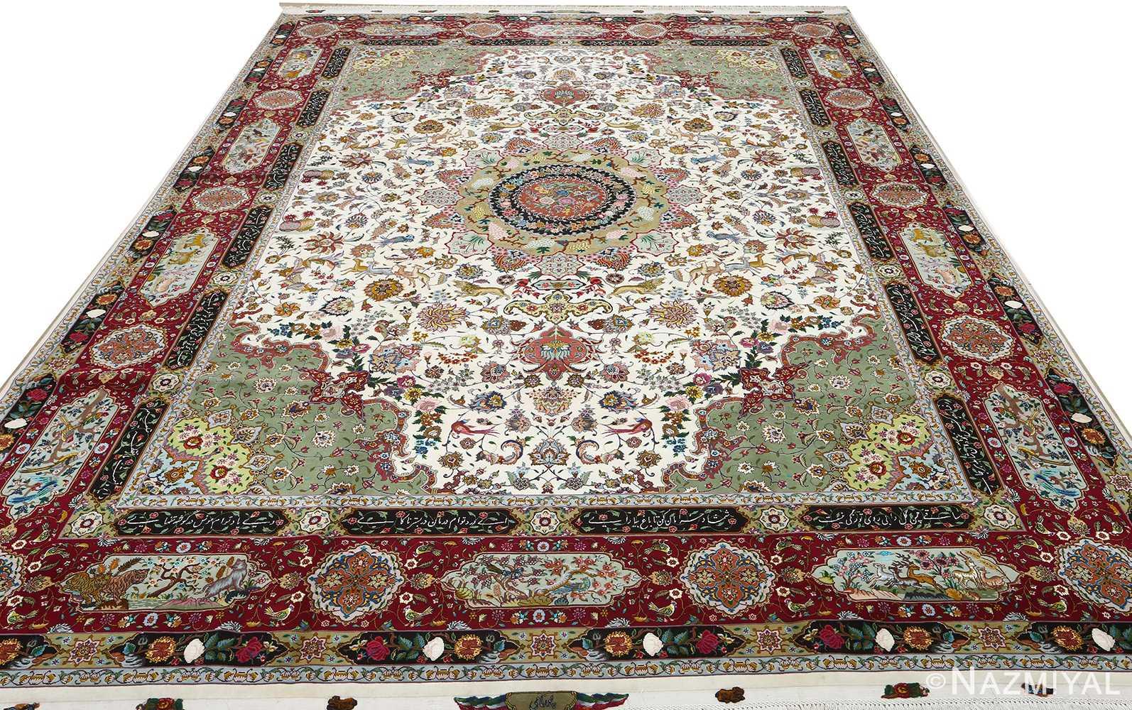 vintage animal motif tabriz persian rug 51107 full Nazmiyal