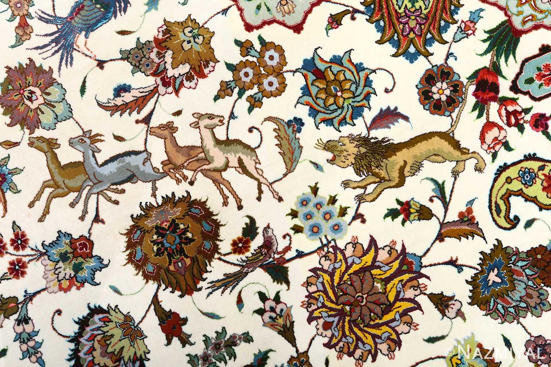 vintage animal motif tabriz persian rug 51107 lion Nazmiyal