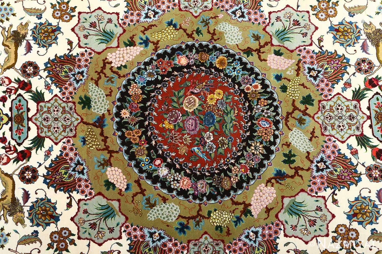 vintage animal motif tabriz persian rug 51107 medallion Nazmiyal