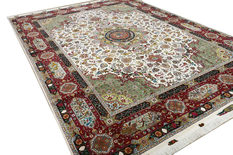 vintage animal motif tabriz persian rug 51107 side Nazmiyal