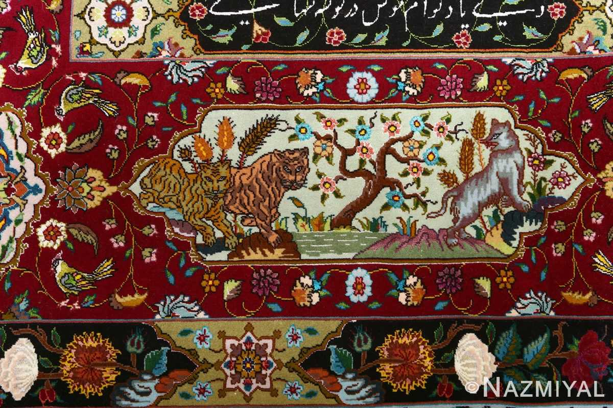 vintage animal motif tabriz persian rug 51107 tigers Nazmiyal