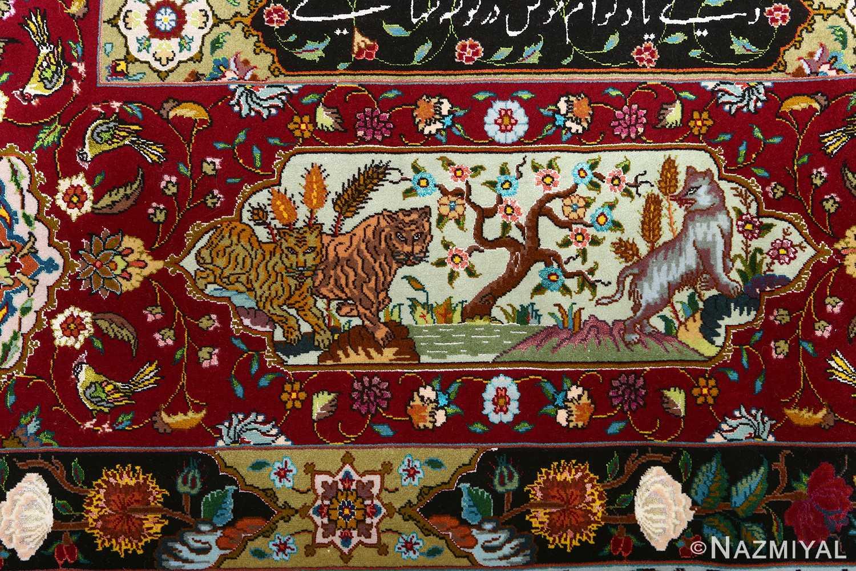vintage animal motif tabriz persian rug 51107 tigers Nazmiyal