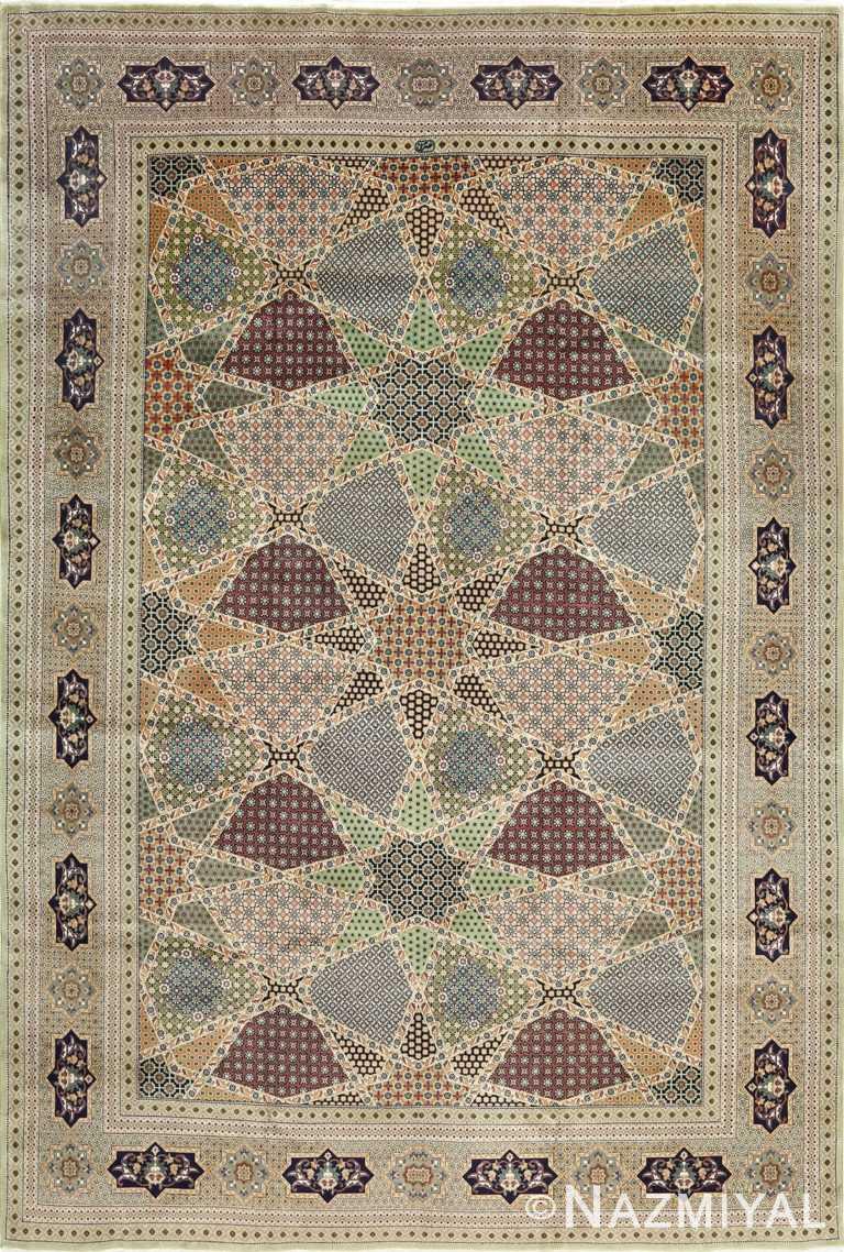 vintage geometric tabriz persian rug 51113 Nazmiyal