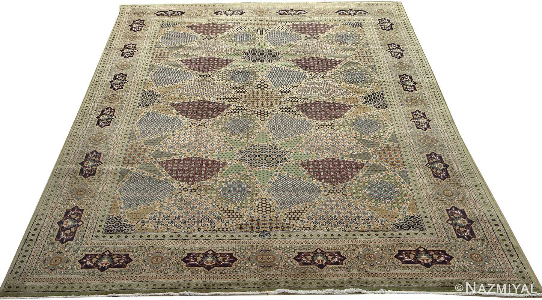 vintage geometric tabriz persian rug 51113 full Nazmiyal