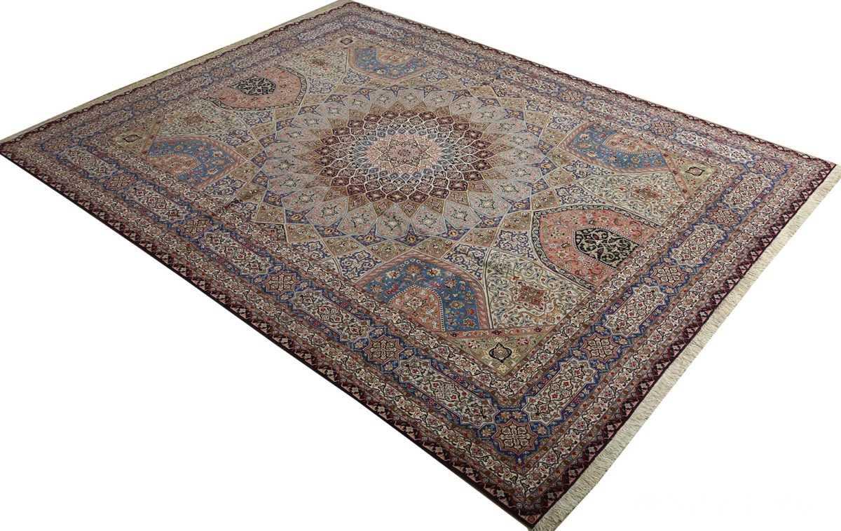 vintage gonbad design tabriz persian rug 51083 side Nazmiyal
