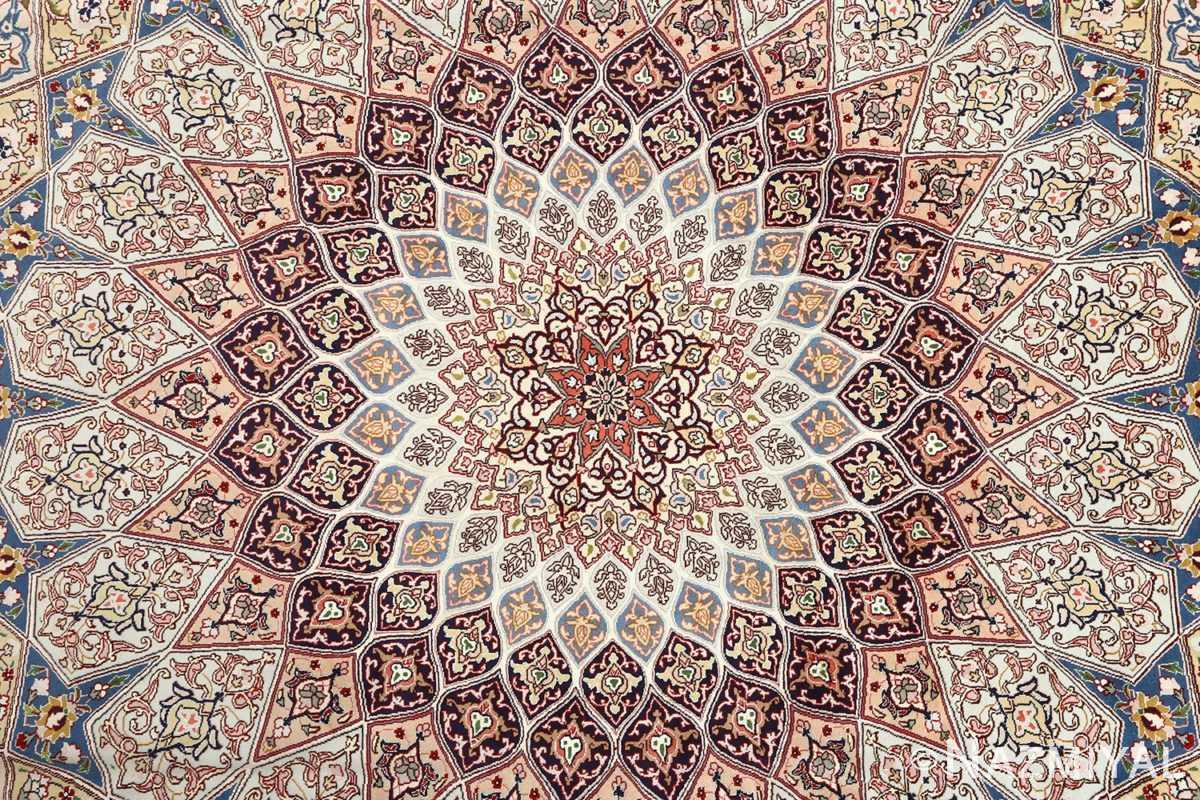 vintage gonbad design tabriz persian rug 51085 medallion Nazmiyal