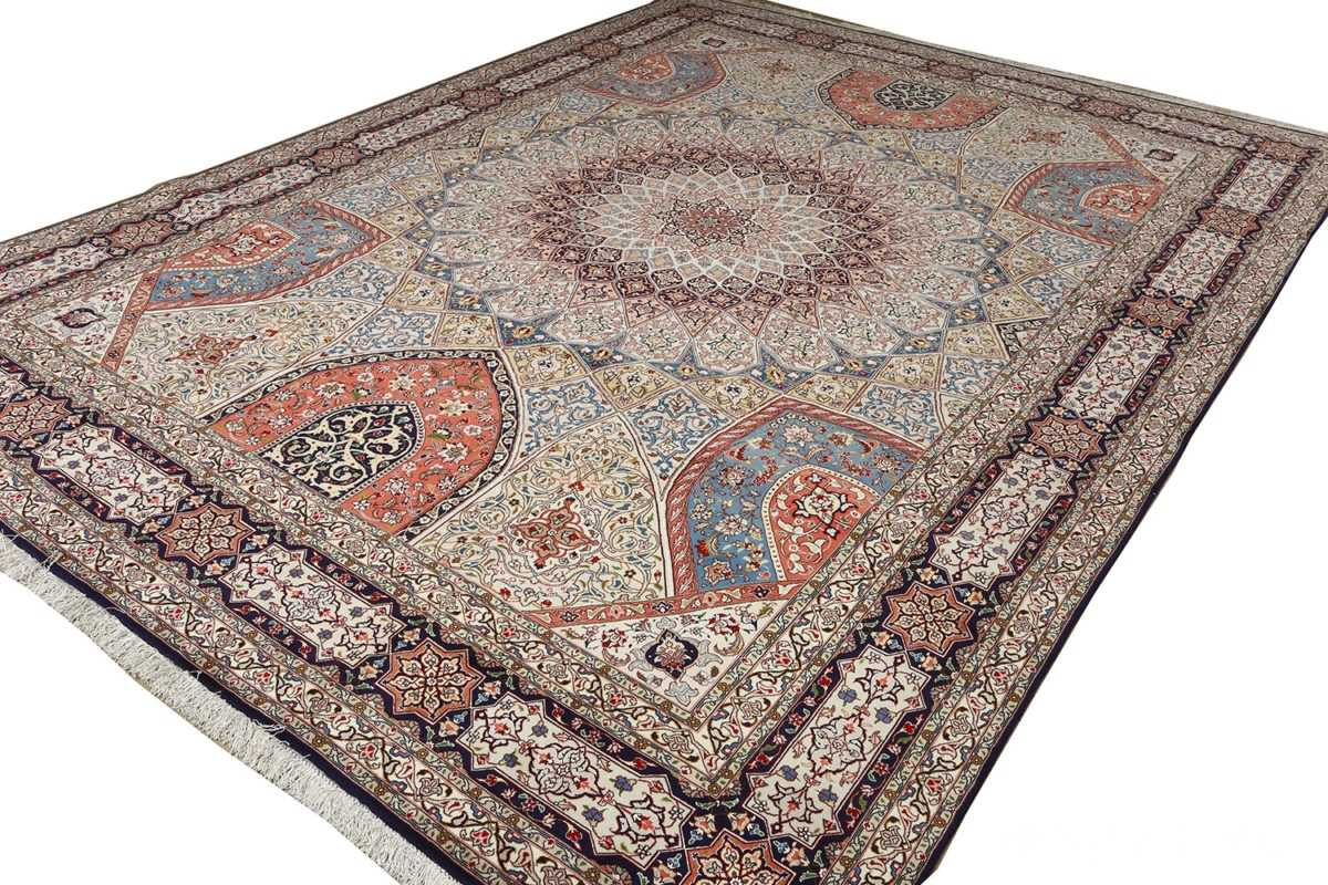 vintage gonbad design tabriz persian rug 51085 side Nazmiyal