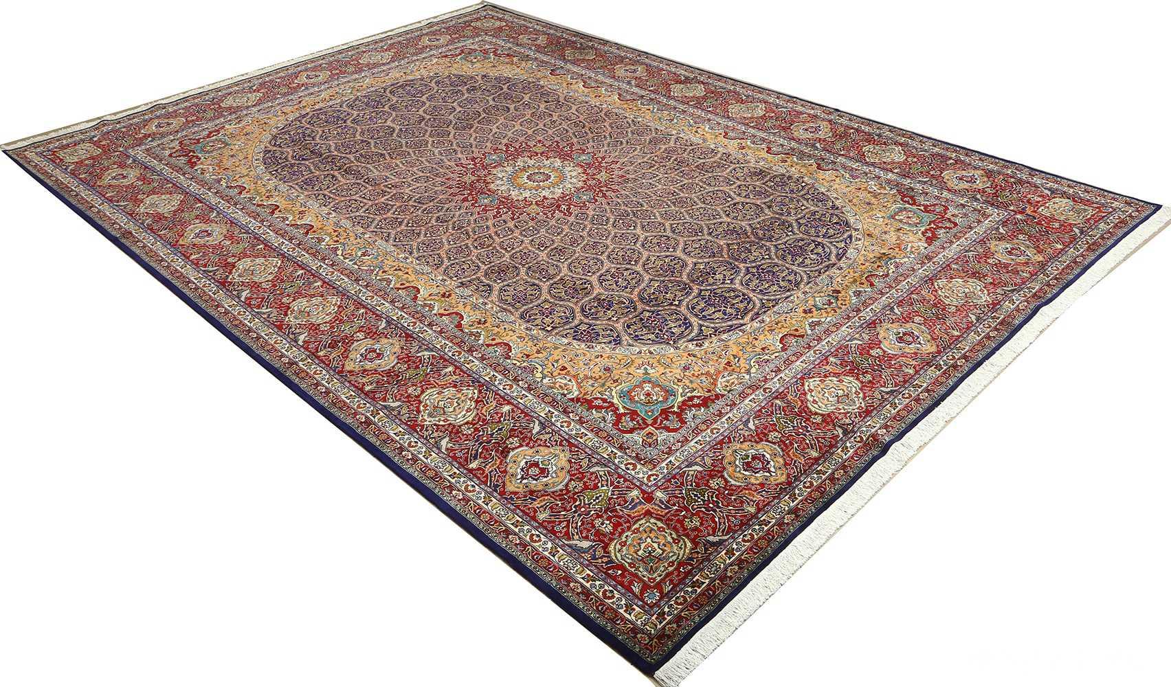 vintage gonbad design tabriz persian rug 51088 side Nazmiyal