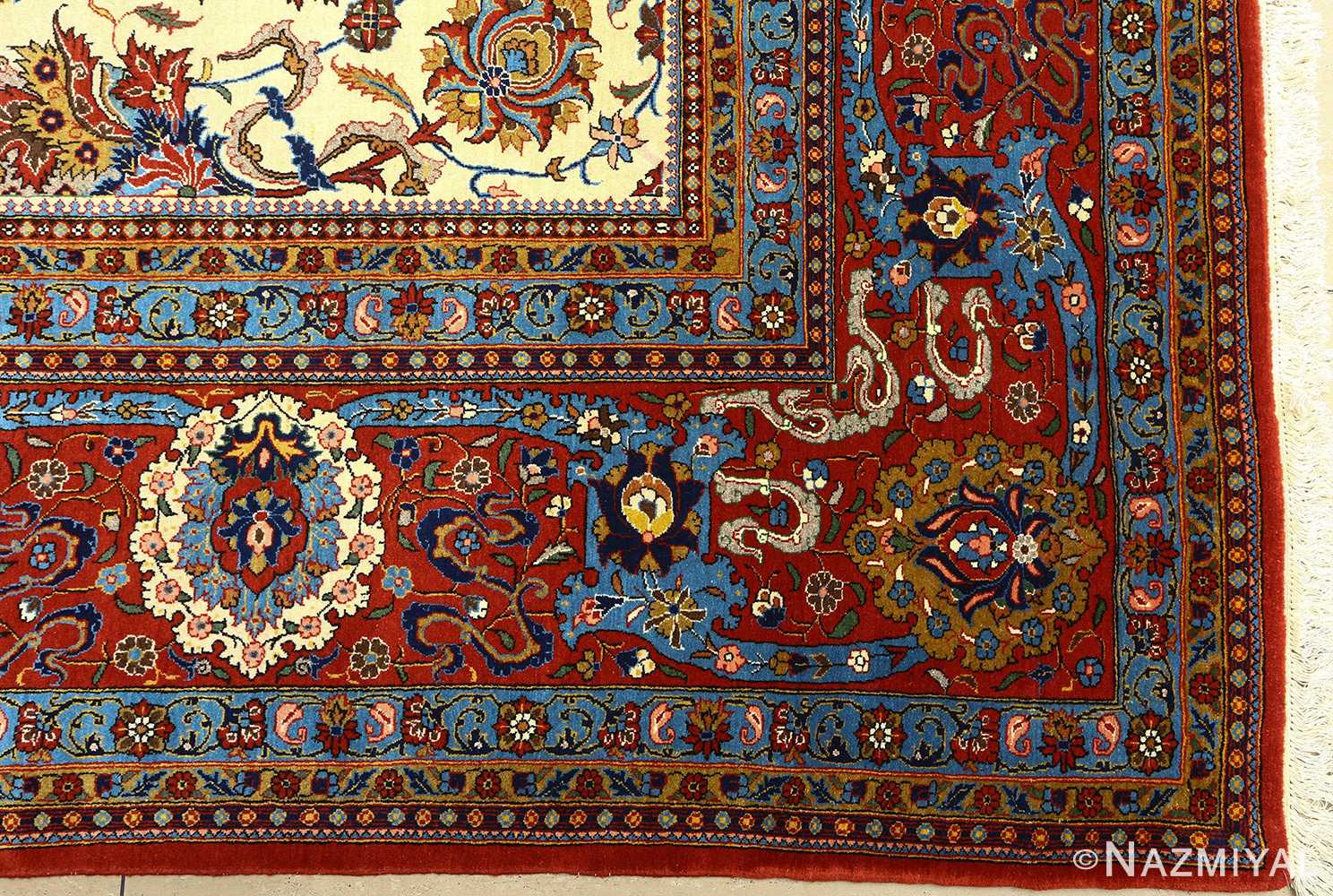 vintage ivory qum persian rug 51091 corner Nazmiyal