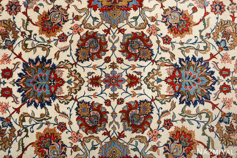 vintage ivory qum persian rug 51091 field Nazmiyal