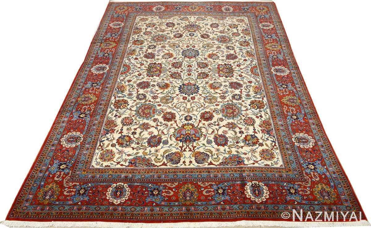 vintage ivory qum persian rug 51091 full Nazmiyal