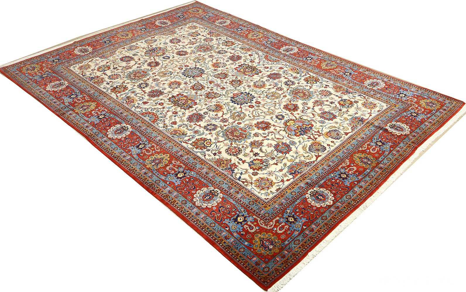 vintage ivory qum persian rug 51091 side Nazmiyal
