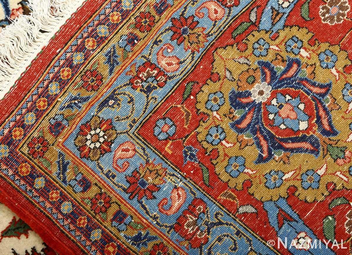 vintage ivory qum persian rug 51091 weave Nazmiyal