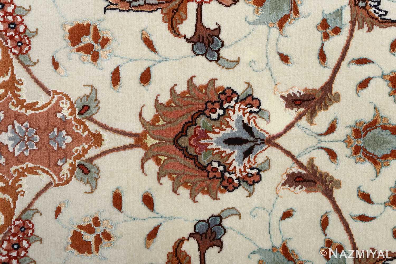 vintage ivory tabriz persian rug 51082 buteh Nazmiyal