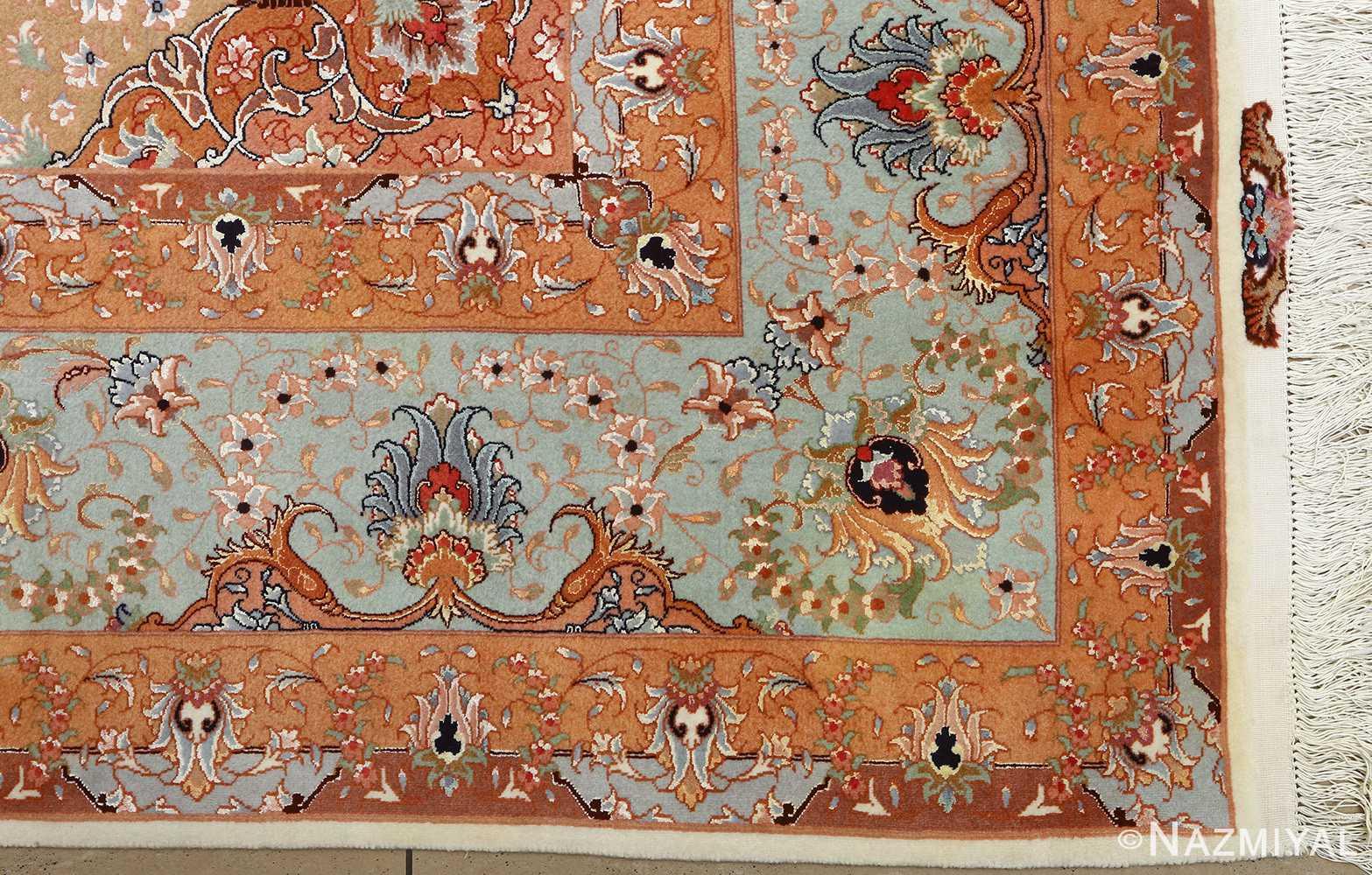 vintage ivory tabriz persian rug 51082 corner Nazmiyal