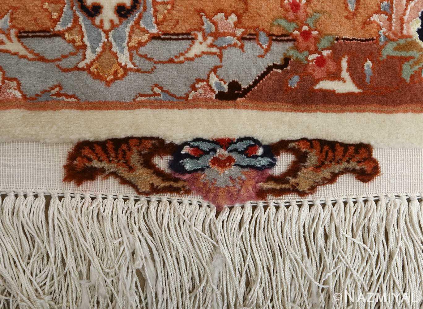 vintage ivory tabriz persian rug 51082 fringes Nazmiyal