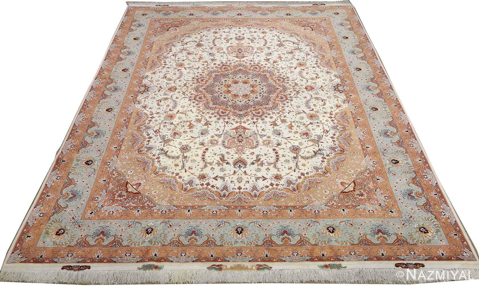 vintage ivory tabriz persian rug 51082 full Nazmiyal
