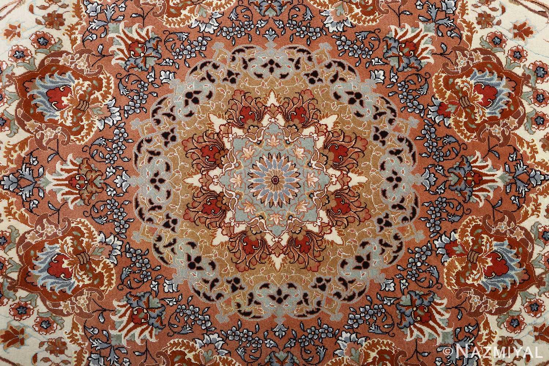 vintage ivory tabriz persian rug 51082 medallion Nazmiyal