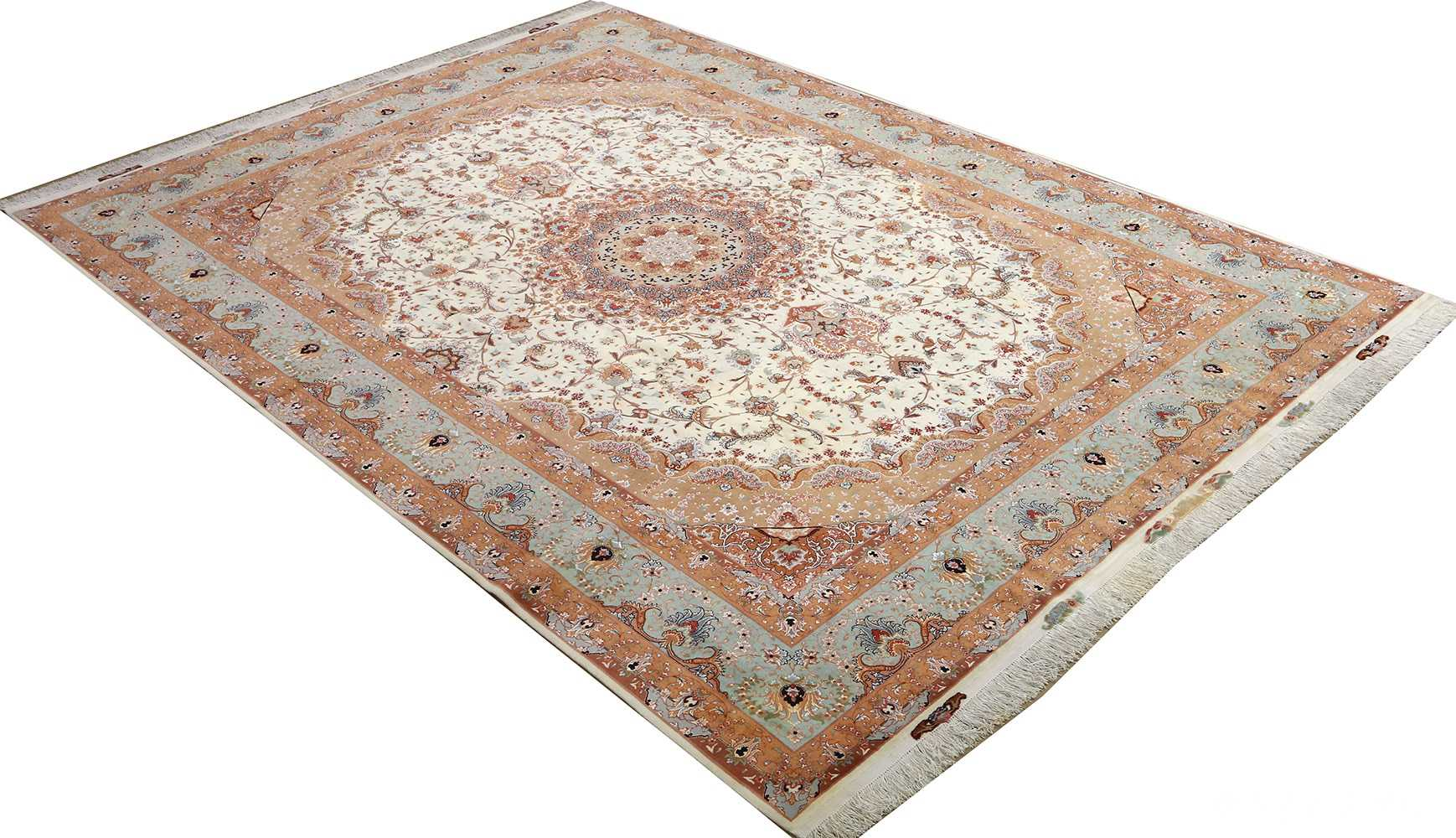 vintage ivory tabriz persian rug 51082 side Nazmiyal
