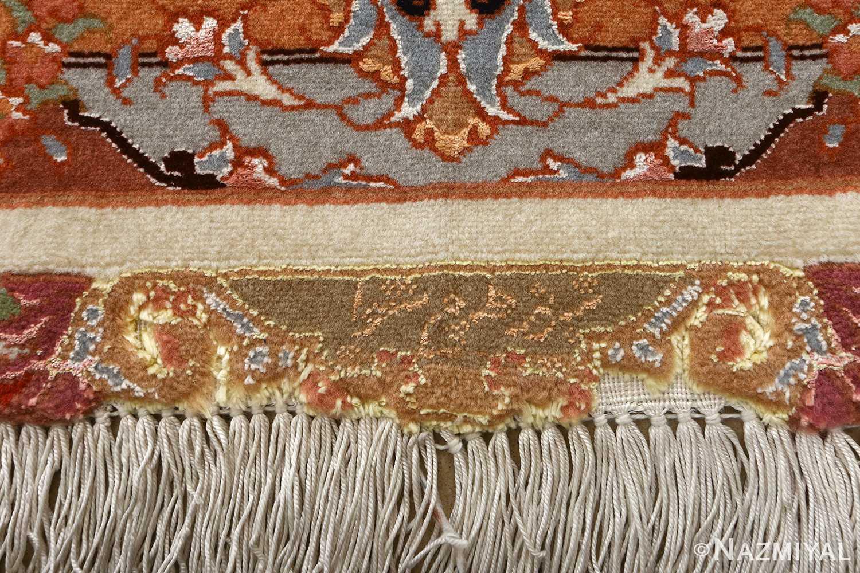vintage ivory tabriz persian rug 51082 signature Nazmiyal