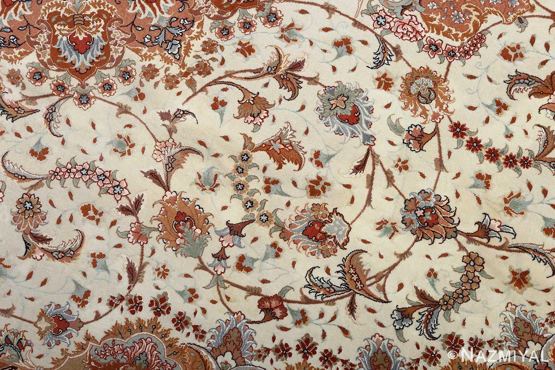 vintage ivory tabriz persian rug 51082 slimis Nazmiyal