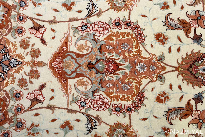 vintage ivory tabriz persian rug 51082 top Nazmiyal