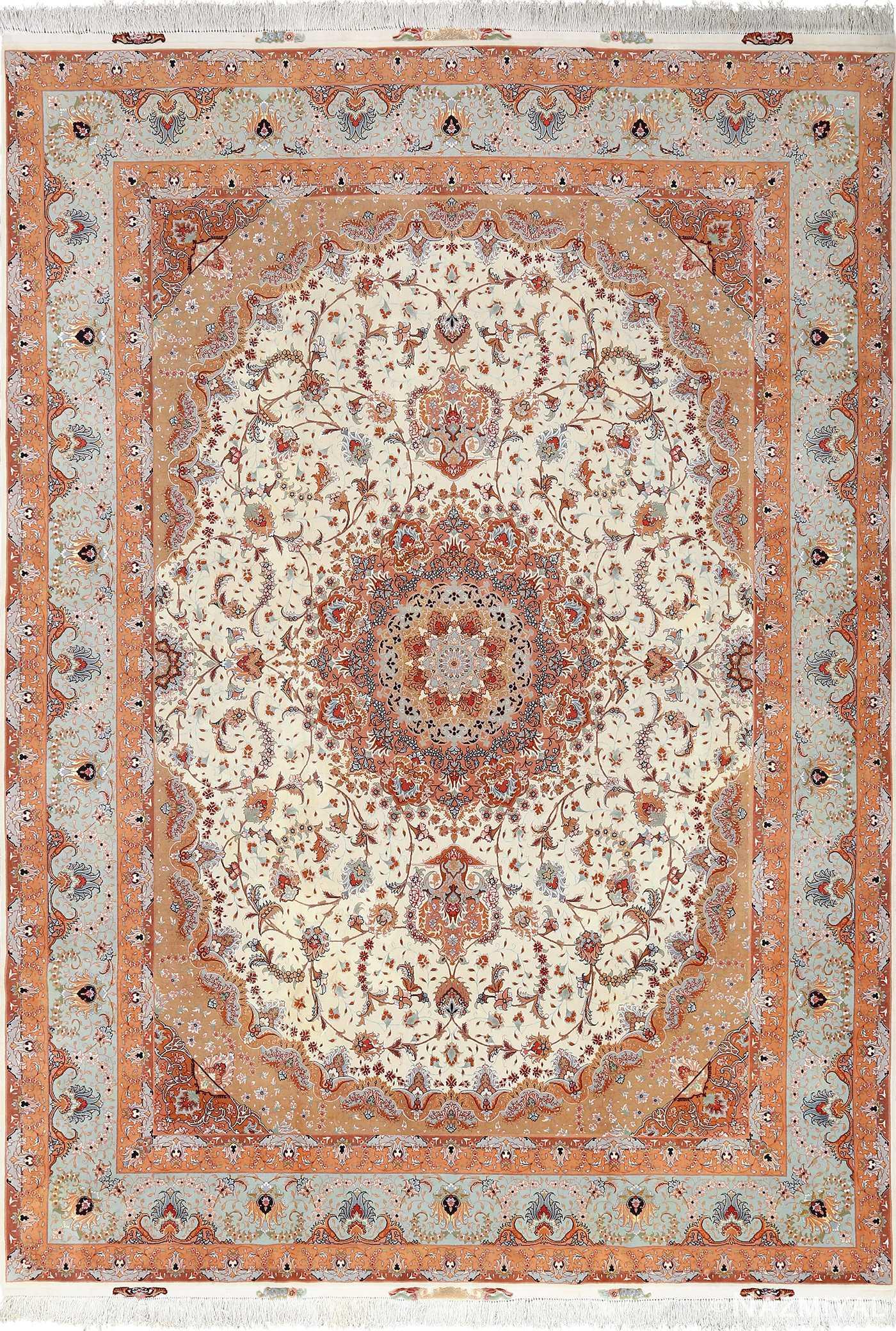 vintage ivory tabriz persian rug 51082 Nazmiyal