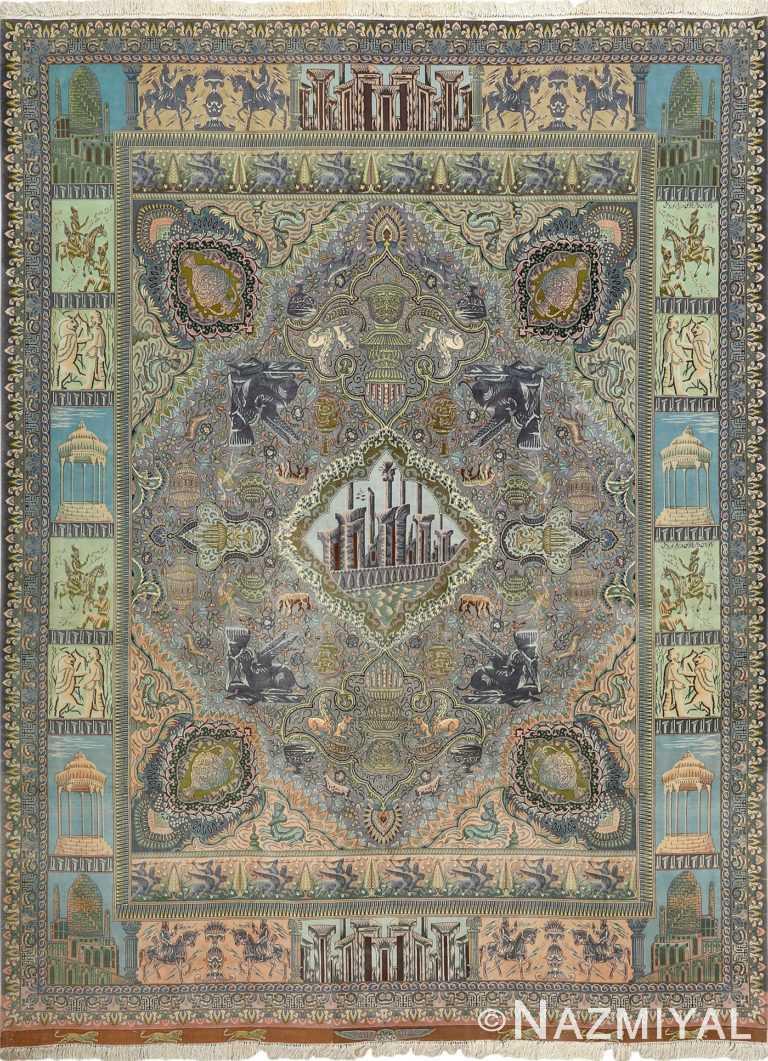 vintage pictorial tabriz persian rug 51105 Nazmiyal