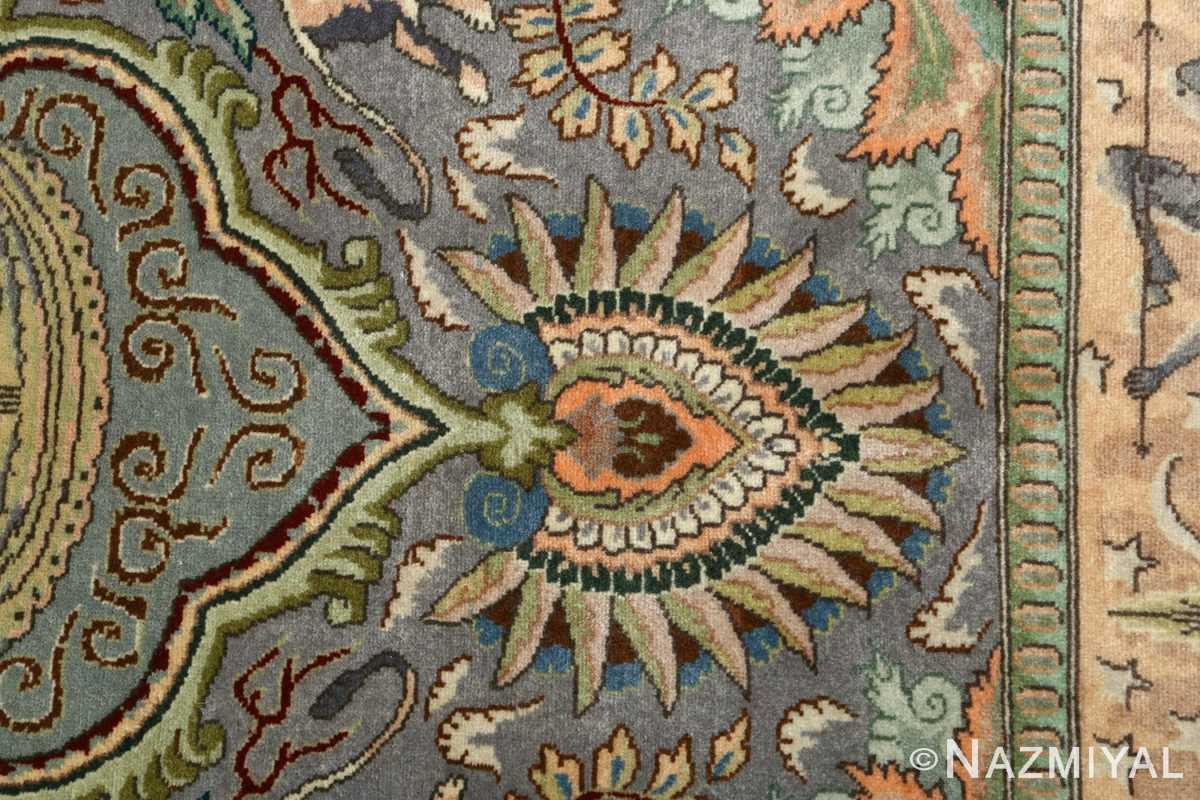 vintage pictorial tabriz persian rug 51105 buteh Nazmiyal