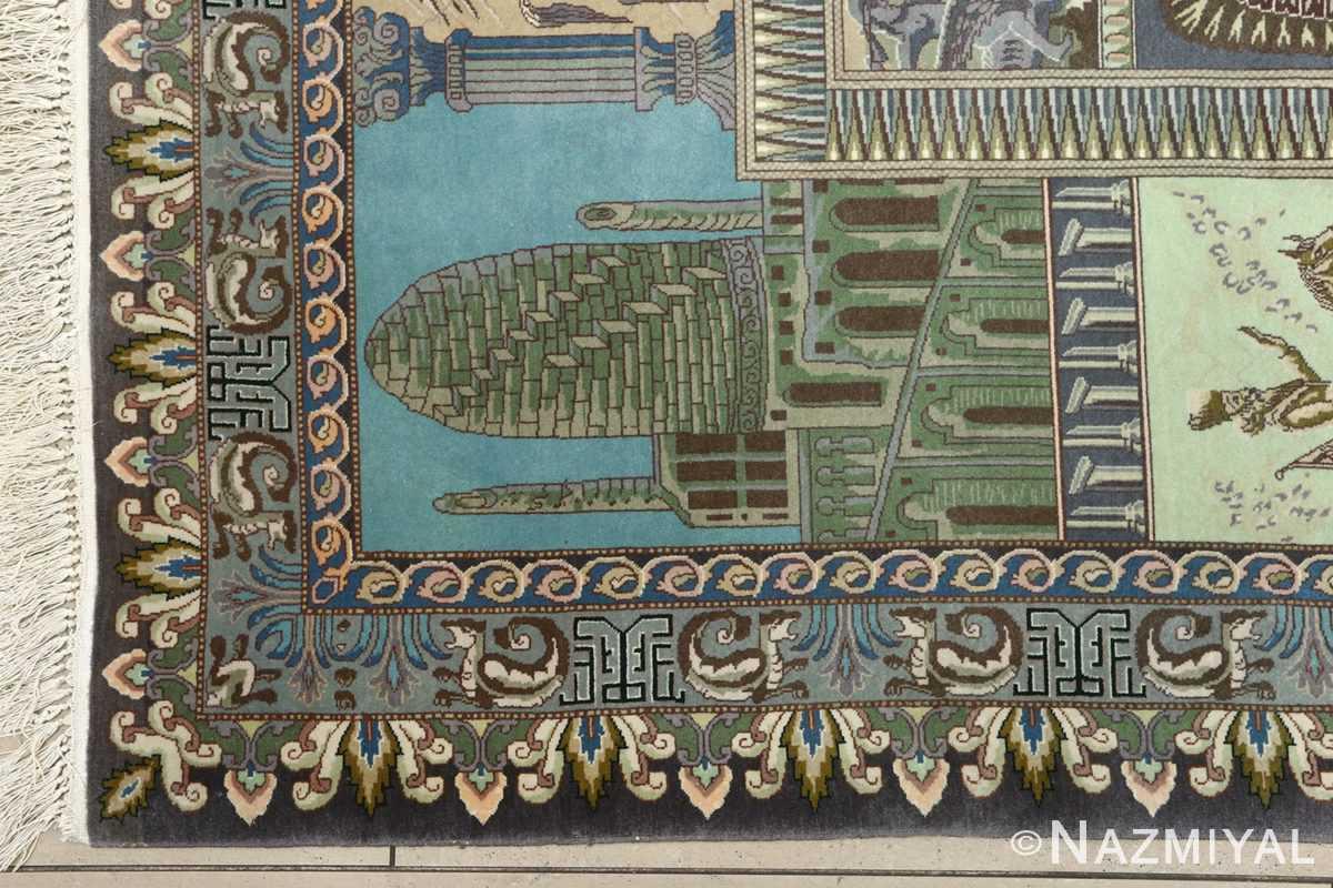 vintage pictorial tabriz persian rug 51105 corner Nazmiyal