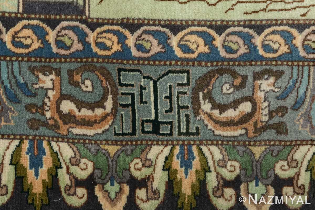 vintage pictorial tabriz persian rug 51105 cup Nazmiyal