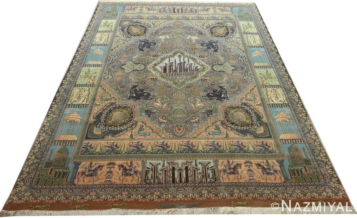 vintage pictorial tabriz persian rug 51105 full Nazmiyal